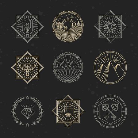 llave de sol: Vector conjunto de elementos de diseño, emblemas y plantillas de diseño - conceptos relacionados con el tatuaje, la magia, la alquimia en el estilo lineal de moda sobre fondo negro