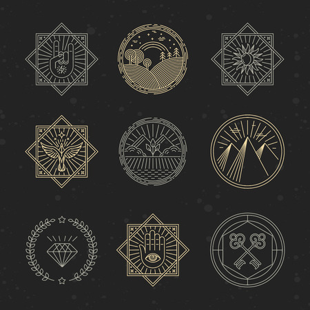 sun light: Vector set of design elements, emblems and design templates - concepts related to tattoo, magic, alchemy in trendy linear style on black background