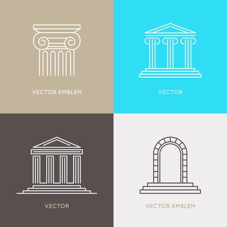 derecho romano: Vector set of design templates, emblems and icons in trendy linear style - architecture and law concepts and signs Vectores