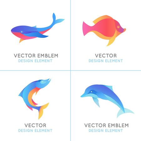 Vector set of abstract emblems and design templates in bright gradient colors - fish icons and signs