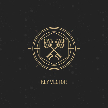 secret: Vector abstract emblem in trendy linear style with key icon - secret and mystic concept