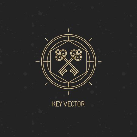 llaves: Vector resumen emblema de estilo lineal moderno con icono de la llave - el secreto y el concepto místico