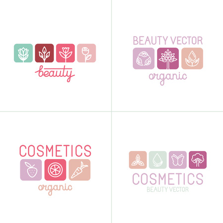 beauty shop: Vector set of icons and logo design templates for beauty industry and cosmetics with linear styles