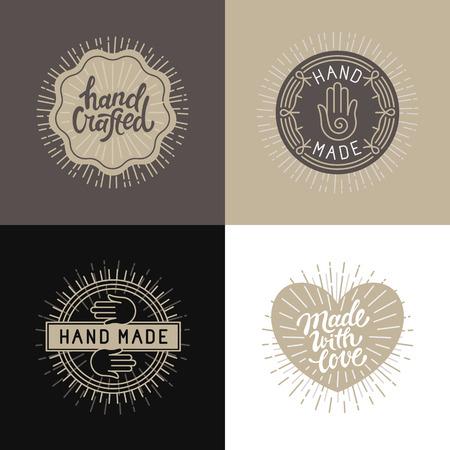 Vector conjunto de elementos de diseño, insignias y etiquetas de estilo vintage con las letras ahnd-- hecho, hechos a mano y hecho con amor de la mano