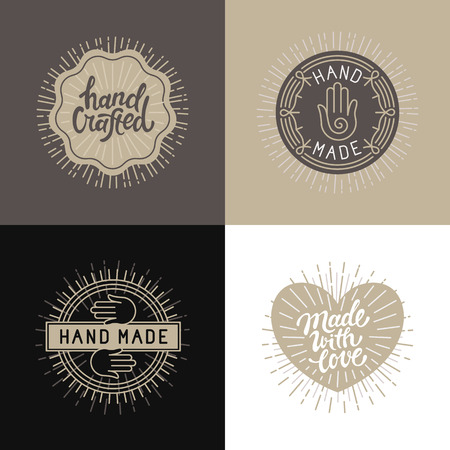 handcrafted: Vector set of design elements, badges and labels in vintage style with ahnd-lettering - hand made, handcrafted and made with love