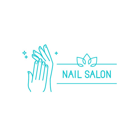 saloon: Vector loog design template in trendy linear style - female hands - manicure and nail salon concept
