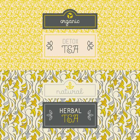 taza de te: Vector conjunto de elementos de dise�o, etiquetas y patr�n transparente para el envasado de hierbas y t� de desintoxicaci�n - bebidas saludables y org�nicos conceptos