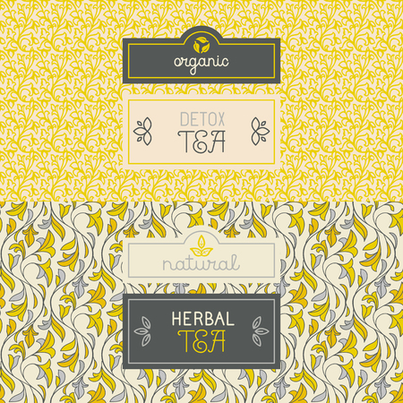 herb tea: Vector set of design elements, labels and seamless pattern for packaging for herbal and detox tea - healthy and organic drinks concepts