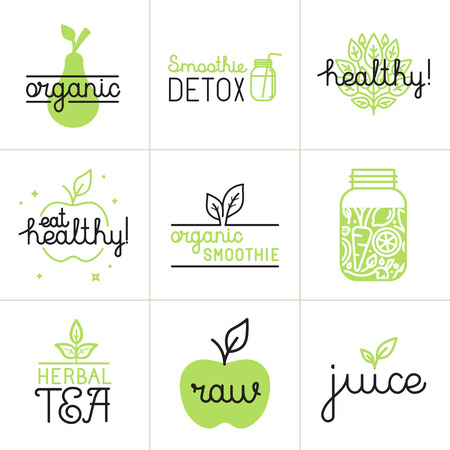 detox: Vector set of logo design elements and badges in trendy flat and linear style - healthy eating, detox smoothie, herbal tea and organic juice