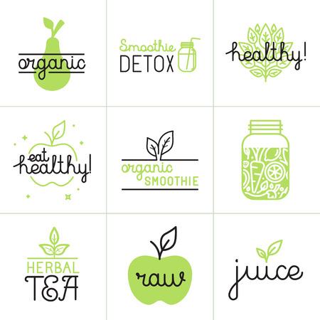 Vector set van logo design elementen en badges in trendy vlakke en lineaire stijl - gezond eten, detox smoothie, kruidenthee en biologische sap Stock Illustratie