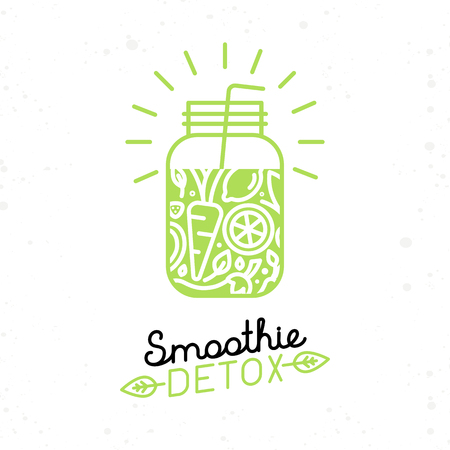 Vector smoothie detox poster in trendy linear flat style - glass with fruit juice for detox and healthy lifestyle