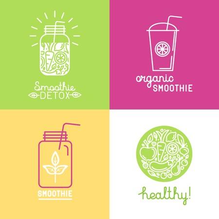 batidos de frutas: Vector conjunto de elementos de diseño de logotipo en el estilo lineal de moda - batido de desintoxicación, jugo orgánico y comida sana