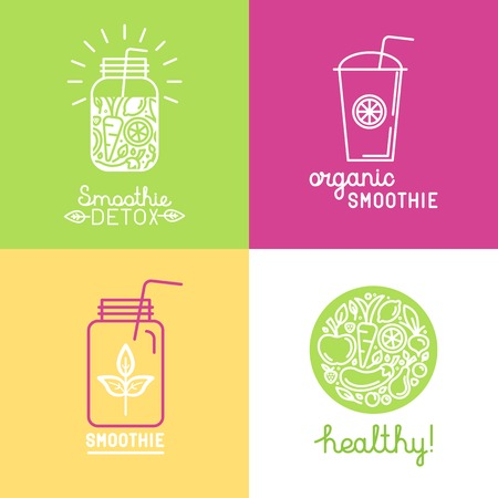 leaf line: Vector set of logo design elements in trendy linear style - detox smoothie, organic juice and healthy food