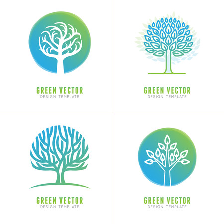 branch to grow up: Vector set of business and abstract emblems in green gradient colors - trees and plants - growth concepts