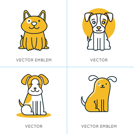Vector set of icons and signs in trendy linear style - dogs and puppies - veterinary and pet stores concepts Çizim
