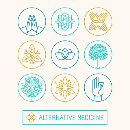 Vector conjunto de icono de plantillas de diseño y los iconos de estilo lineal moda - holística y medicina alternativa