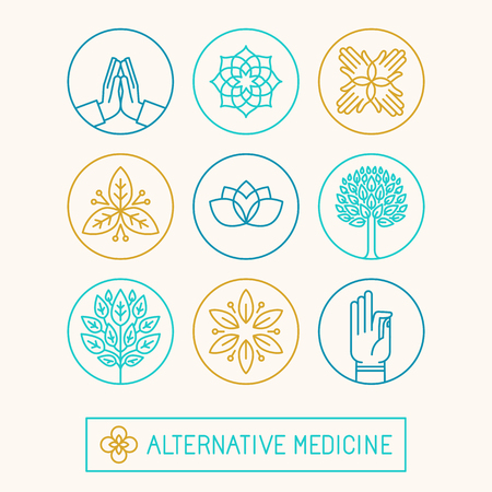 herbalist: Vector set of icon design templates and icons in trendy linear style - holistic and alternative medicine