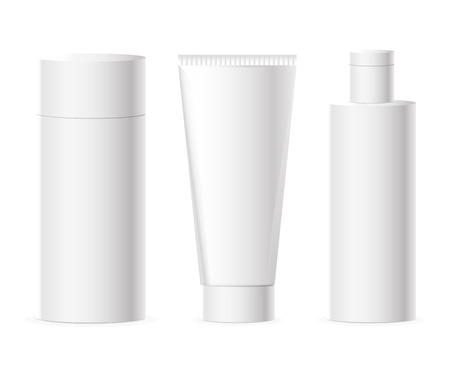 Vector set of cosmetics packages and bottle in white color with copy space for labels and badges Ilustração