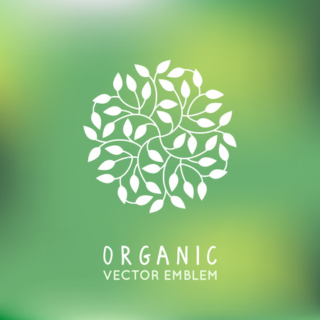 Vector organic and natural emblem and logo design template - green ecology concept or natural cosmetics - circle made with leaves 免版税图像 - 48776374
