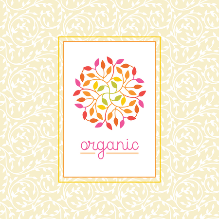 leaf line: Vector organic and natural emblem and logo design template - green ecology concept or natural cosmetics - circle made with leaves
