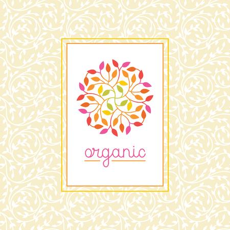 Vector organische en natuurlijke embleem en logo design template - groen ecologisch concept of natuurlijke cosmetica - cirkel gemaakt met bladeren