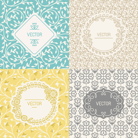packaging: Vector set of design elements, borders and frames, seamless patterns for natural cosmetics packaging - abstract backgrounds with flowers and leaves