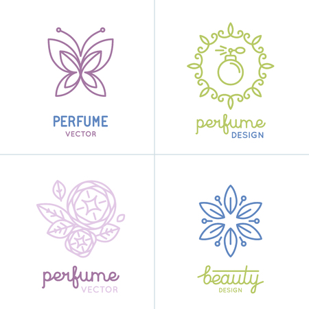 parfum: Vector set of perfume and cosmetics logo design templates and icons - natural and organic concepts