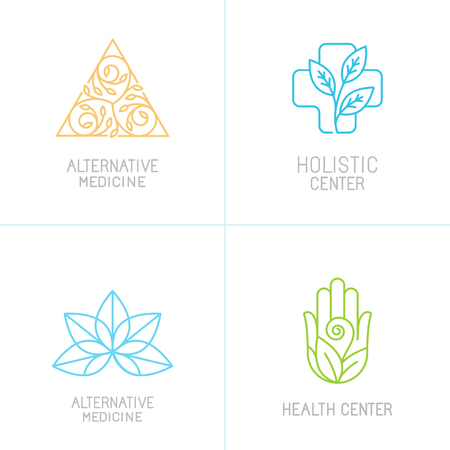 logo medicina: conceptos de vectores y plantillas de diseño de logotipo en el estilo lineal de moda - la medicina alternativa, centros de salud y los iconos de tratamiento integral Vectores
