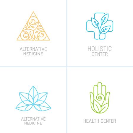 Concepts vectorielles et des modèles de conception de logo de style branché linéaire - médecine alternative, les centres de santé et les icônes de traitement holistique
