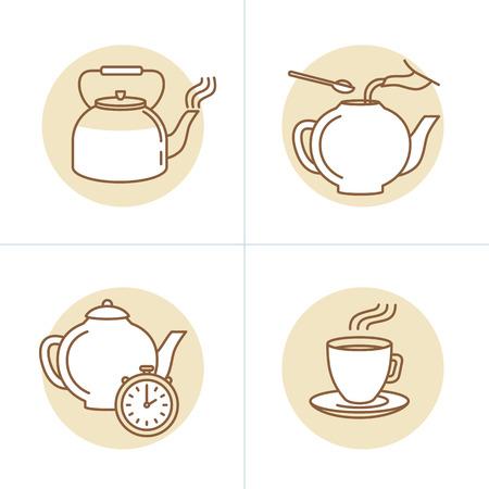 -茶注入命令とガイド - トレンディな直線的なスタイルのアイコンと茶包装やインフォ グラフィックのための図面のベクトル図