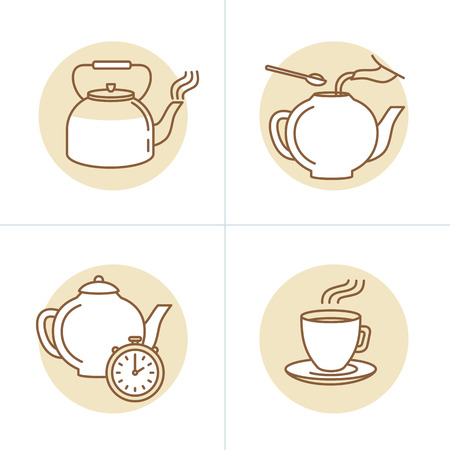 Vector illustration in trendy linear style - tea infusion instructions and guide - icons and drawings for tea packaging or infographics