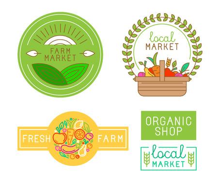 canastas de frutas: Modelo del diseño de la insignia del vector con las frutas y vegetales iconos en el estilo lineal de moda - emblema abstracto para tienda de productos ecológicos, tienda de alimentos saludables o en el mercado local de la granja