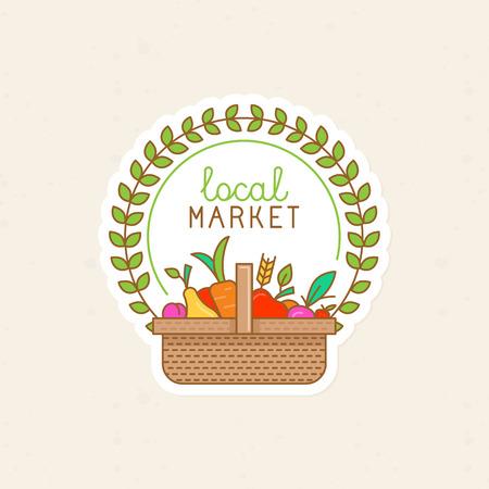 Vector lineaire badge - lokale markt - label illustratie met mand vol fruit en groenten - biologische vers voedsel en fruit