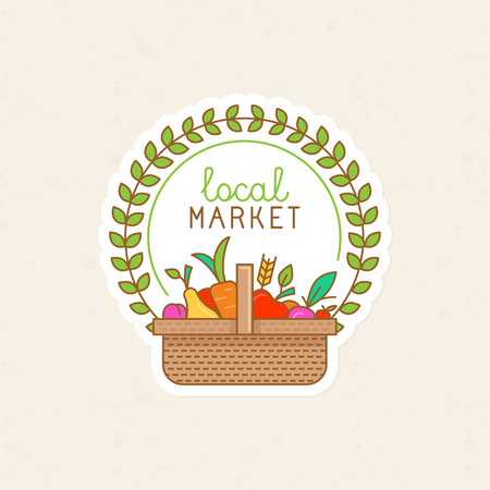 basket: Vector linear badge - local market - label illustration with basket full of fruits and vegetables - organic fresh food and fruits