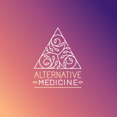 alternative medicine: Vector alternative medicine logo design template - wellness practice, yoga and herbal symbol in trendy linear style