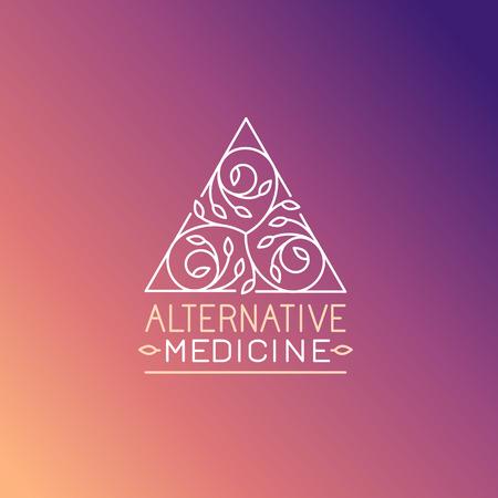 Vector de la medicina alternativa plantilla de diseño del logotipo - práctica de la salud, el yoga y el símbolo de hierbas en el estilo lineal de moda
