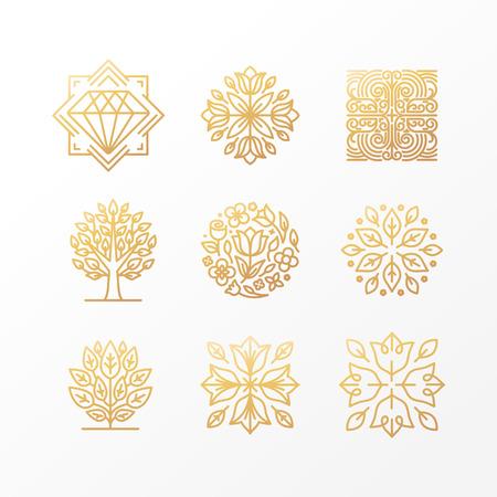 유행 선형 스타일의 고급 개념과 나라꽃 - 추상적 인 황금 표지판, 기호 및 로고 디자인 템플릿 벡터 설정