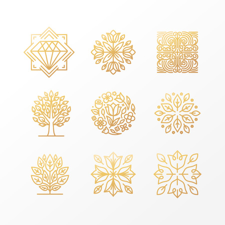 Vector set of abstract golden signs, symbols and logo design templates - luxury concepts and floral emblems in trendy linear style Çizim