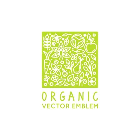 layout strawberry: Vector logo design template with fruit and vegetable icons in trendy linear style - abstract emblem for organic shop, healthy food store or vegetarian cafe on green square background