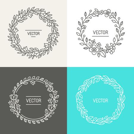 Vector abstracte logo ontwerpsjablonen met kopie ruimte voor tekst in trendy lineaire stijl - set van bloemenkransen en randen voor verpakking, cosmetica, uitnodigingen en banners