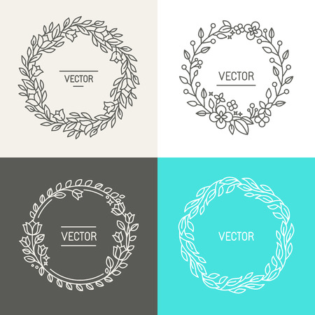 Vector design de logo abstrait modèles avec copie espace pour le texte dans le quartier branché style linéaire - un ensemble de couronnes de fleurs et des frontières pour l'emballage, des cosmétiques, des invitations et des bannières