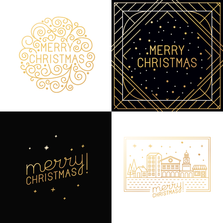 titles: Vector set of christmas greeting cards - merry christmas hand lettering in outline style - decorative typography and line flourishes in golden colour on white background