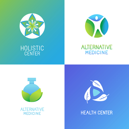 herbalist: Vector set of emblems and logo design templates in bright gradient colors - alternative medicine and wellness centers - tree and herbal icons and concepts Illustration