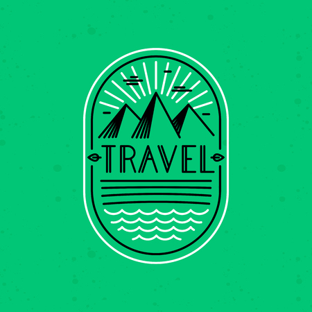 handlettering: Vector linear badge in trendy linear style - travel concept - landscape and hand-lettering text Illustration