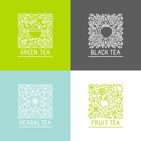 ロゴのデザイン テンプレートとデザイン テンプレートをパッケージ化 - ブラック、グリーン、ハーブ、フルーツ茶 - トレンディな線形スタイルでバ