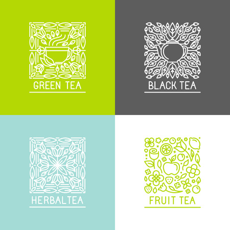 Vector set of logo design templates and badges in trendy linear style - black, green, herbal and fruit teas - packaging design templates Çizim