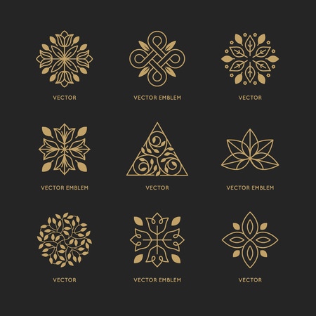 leaf line: Vector set of logo design templates and emblems in trendy linear style in golden colors on black background - floral and natural cosmetics concepts and alternative medicine symbols