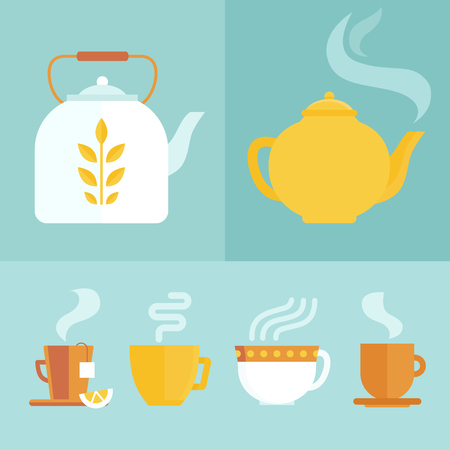 Vector set of icons and illustrations in flat style - tea infusion infographics - hot drinks in different bright cups and mugs