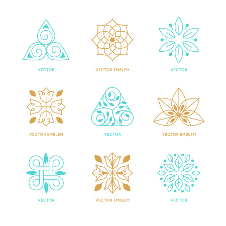 holistic: Vector set of logo design templates and symbols in trendy linear style - organic emblems, natural concepts and alternative medicine and holistic centers signs