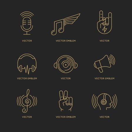 ロゴのデザイン テンプレートとトレンディな直線的なスタイルの音楽、サウンド コンセプトのアイコンのベクトルを設定